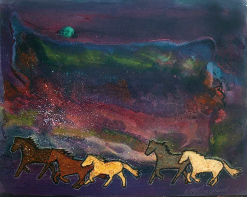 "Sky Ponies. ""This series is about my personal healing journey. At a difficult time in my life, I started painting these abstract skyscapes because it was all that I could paint. I put horses through them because I was remembering a story I was once told about horses in the sky. It was these stories and horses that helped me to move forward."""