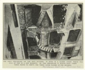 Fire escape of Asch building after the Triangle fire, New York City, 1911, via The Wallach Division Picture Collection, NYPL.